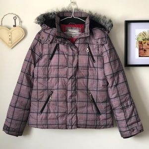 Roots plaid down-filled parka jacket - size Large